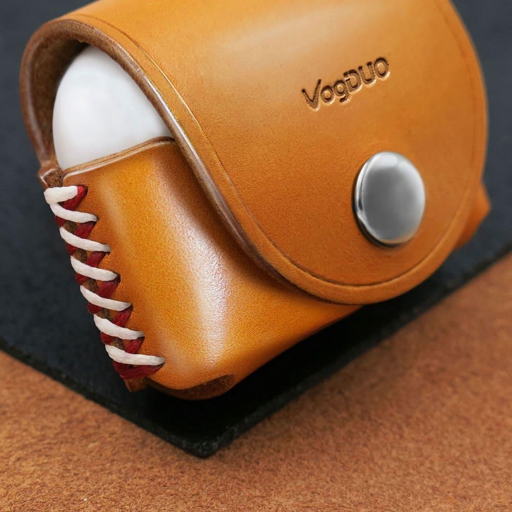 VogDUO|Airpods Pro 義大利真皮革手工保護套(牛皮棕)(附贈登山級S型掛勾)