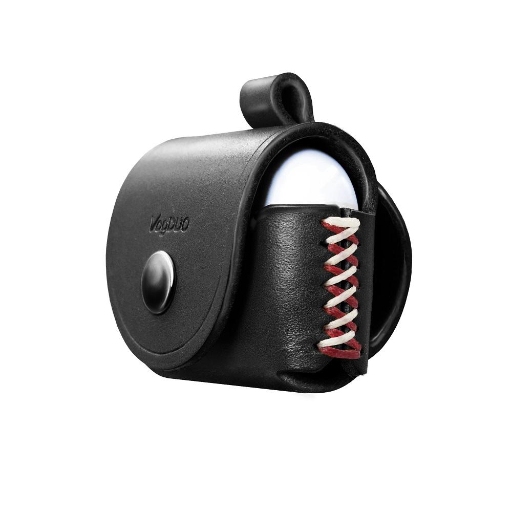 VogDUO|Airpods Pro 義大利真皮革手工保護套(經典黑)(附贈登山級S型掛勾)