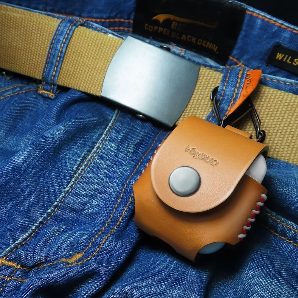VogDUO Airpods 義大利真皮革手工保護套(牛皮棕)(附贈登山級S型掛勾)