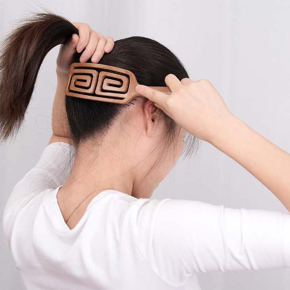 Yao|韓國簍空抗靜電按摩梳-方方款 (木紋)