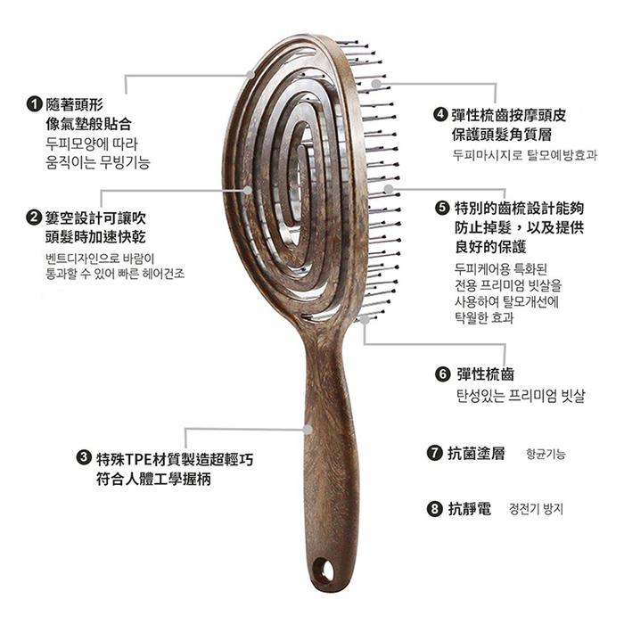 Yao|韓國簍空抗靜電按摩梳-橢橢圓款 (藍灰)