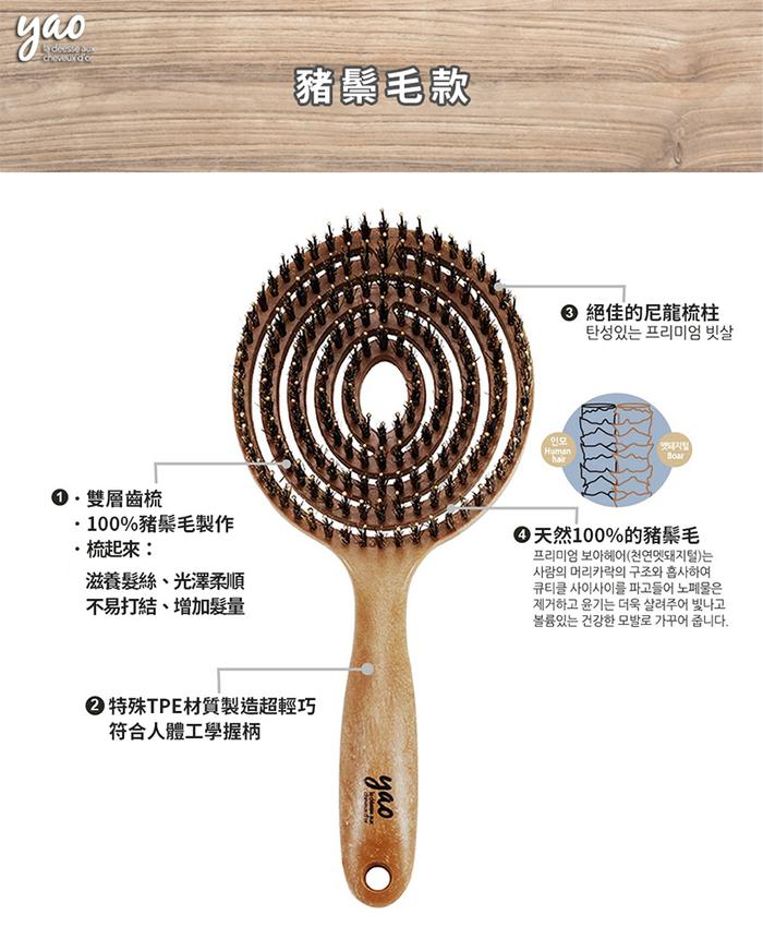 (複製)Yao|韓國簍空抗靜電按摩梳-橢橢圓款 (木紋)