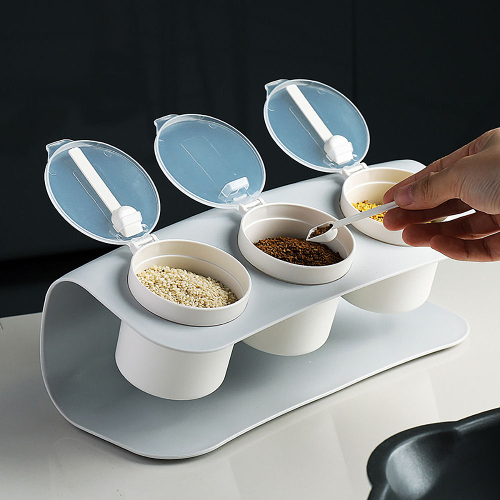LuvHome 日系廚房調味罐組(含設計感收納架、簡約調味罐三入)