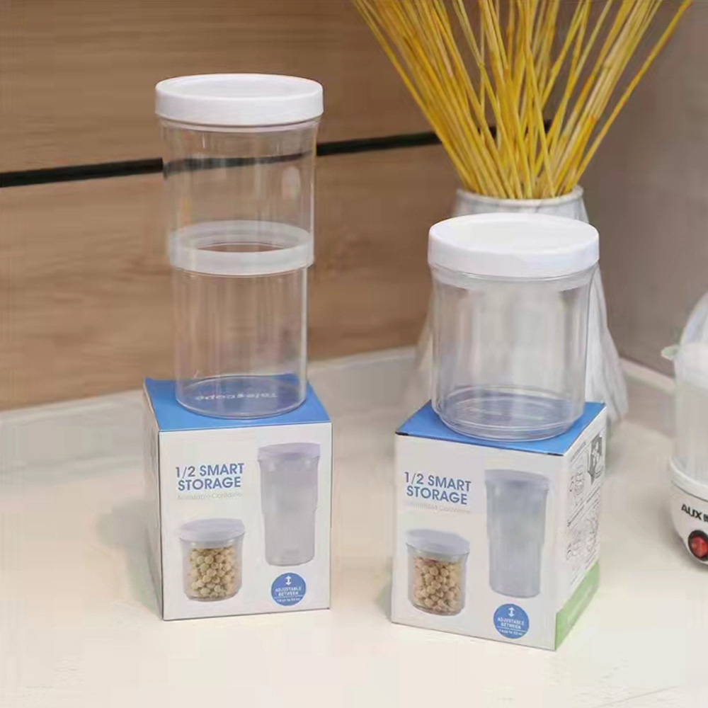 LuvHome|廚房伸縮按壓式透明密封儲物罐3入組