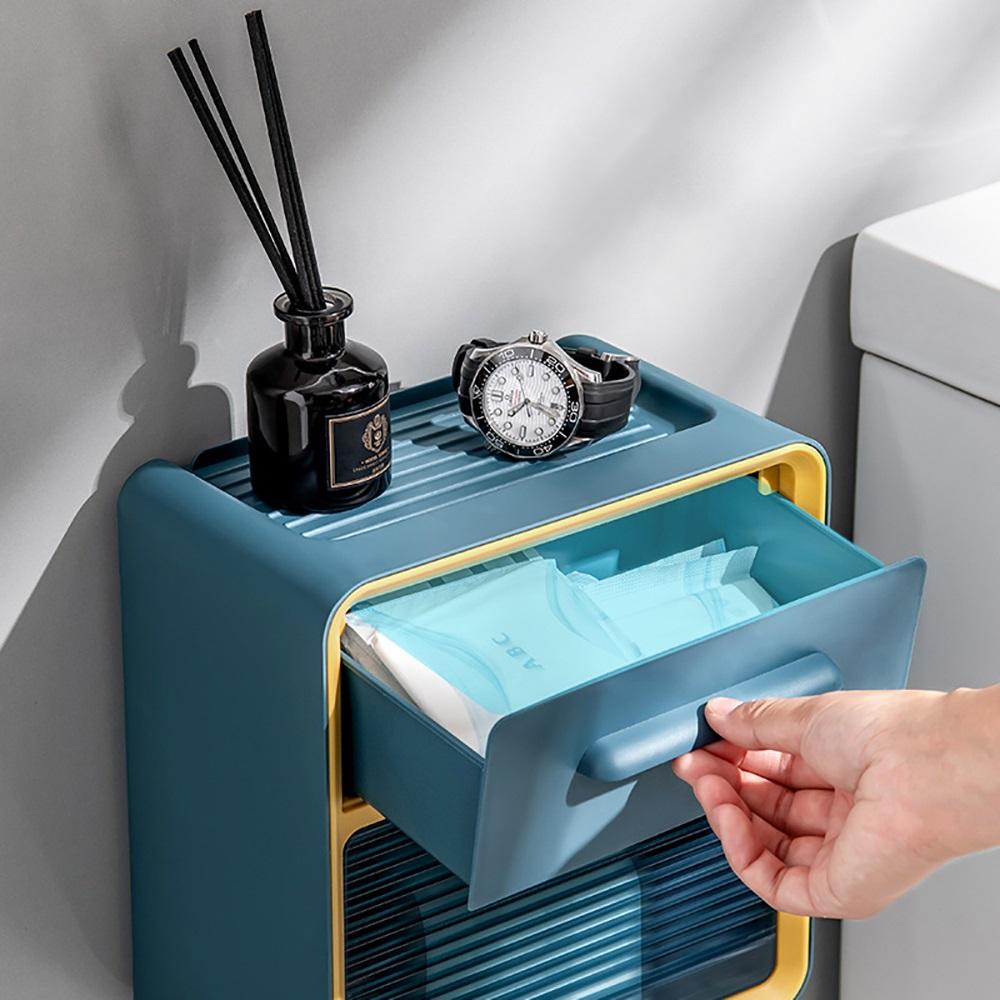 LuvHome 北歐風防潑水壁掛雙層收納衛生紙盒-2入組(兩色任選)