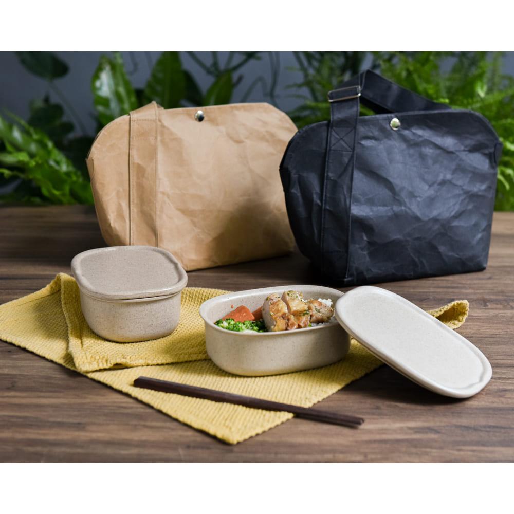 TZULAï Rice-Cycle稻殼便當盒+水洗牛皮便當隨時袋(深米黑)組合