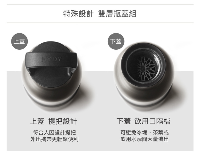 美國HYDY |時尚保溫水瓶專用瓶蓋組-黑色