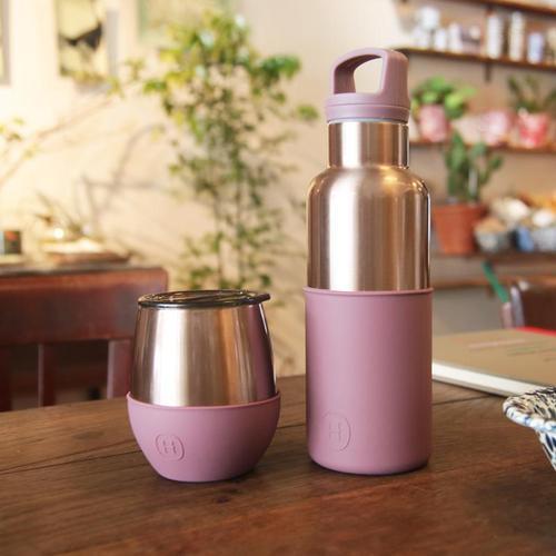 美國HYDY  CinCin& Delicia 時尚蛋型杯 (蜜粉金杯瓶組合)