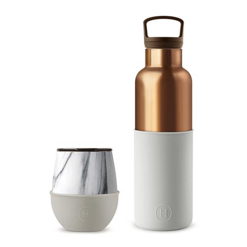 美國HYDY | 古銅金瓶 590ml & 大理石蛋型杯 240ml 組合