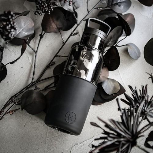 美國HYDY|CinCin Déco 絕美保溫瓶 480ml 黑花瓶-油墨黑