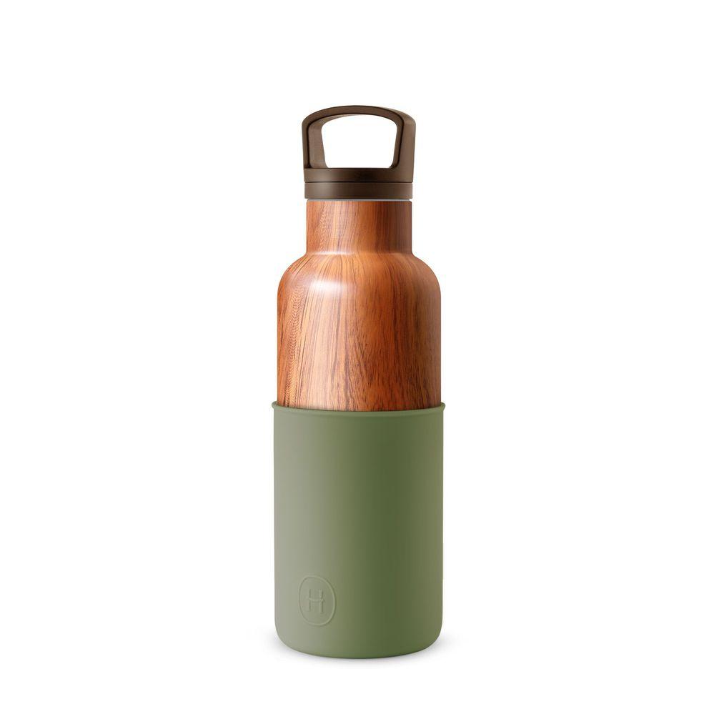 美國HYDY|CinCin Déco 絕美保溫瓶 480ml 木紋瓶-軍綠