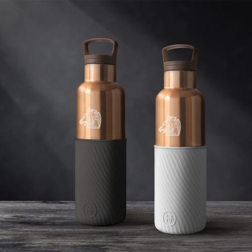 美國HYDY 【金馬影展唯一指定】金馬56聯名保溫水瓶   限量雲灰波紋-古銅金瓶 590ML