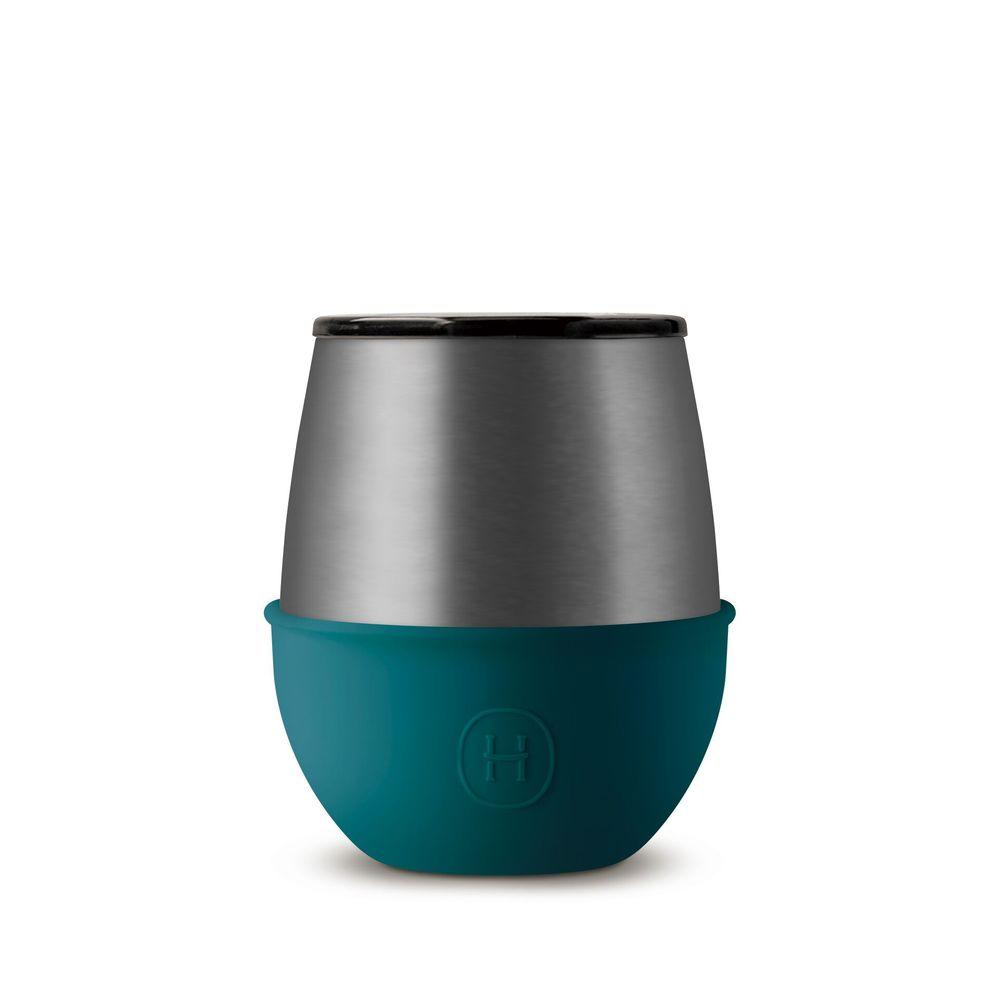 美國HYDY | Delicia 優雅蛋型杯 240ml 鈦灰杯-孔雀綠