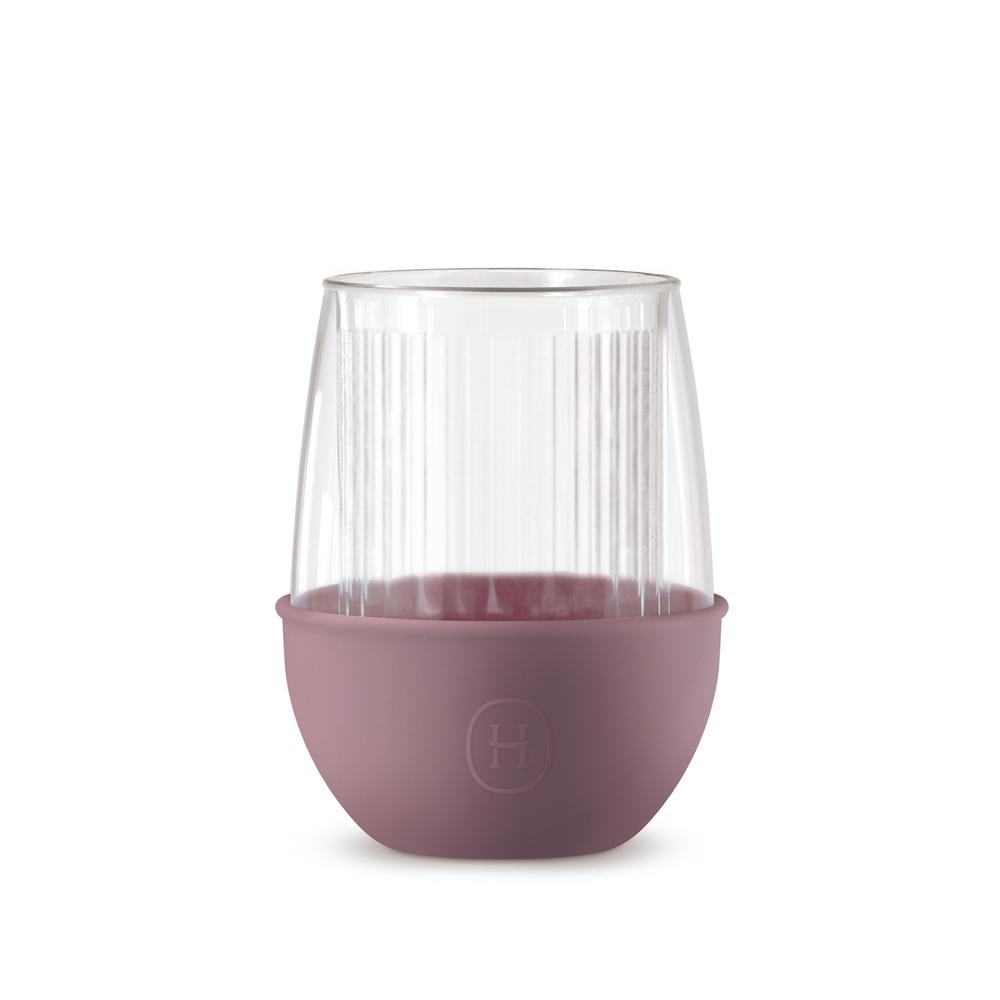 美國HYDY|Lucido 雙層玻璃蛋型杯 240ml 直條紋杯-乾燥玫瑰