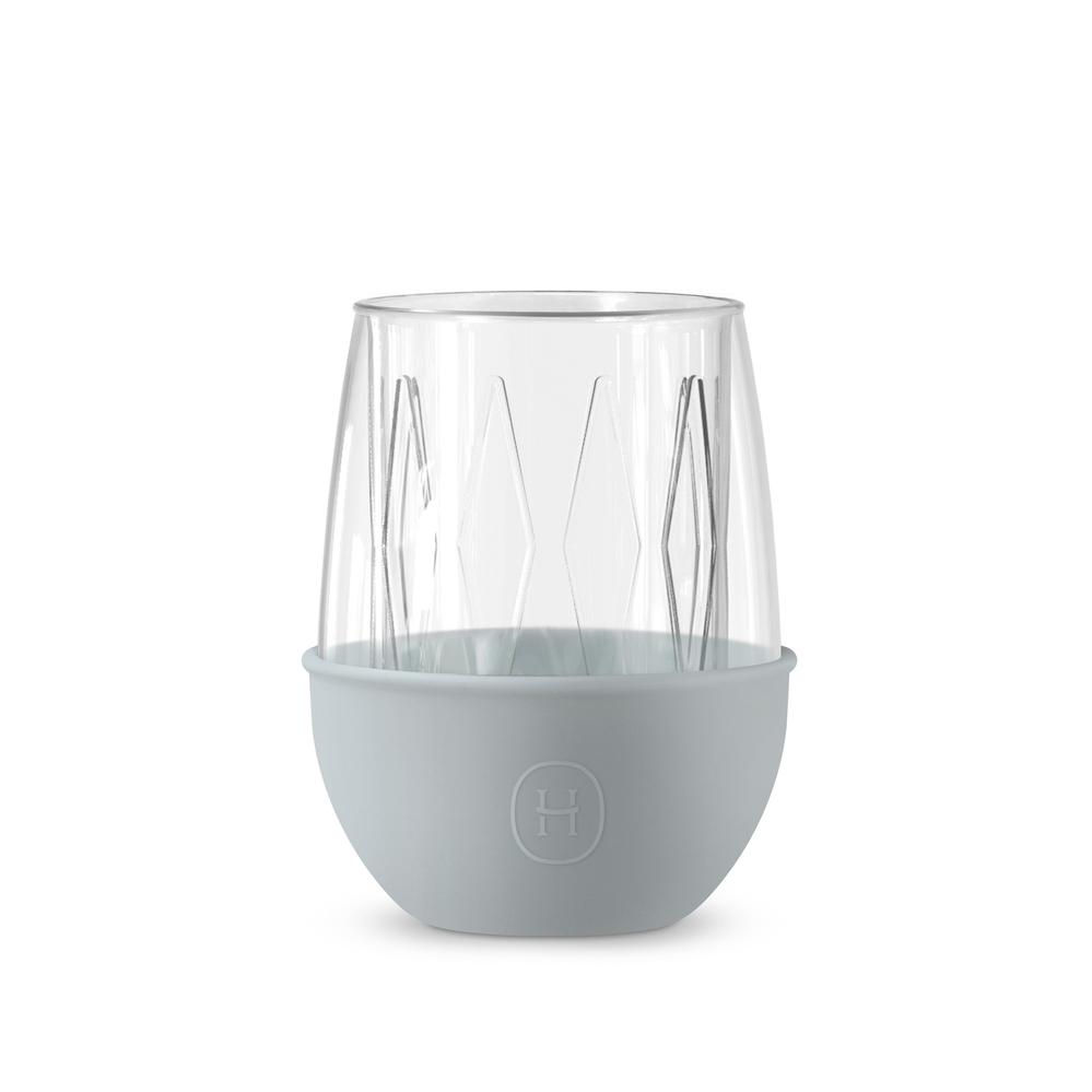 美國HYDY|Lucido 雙層玻璃蛋型杯 240ml 菱格紋杯-積雲