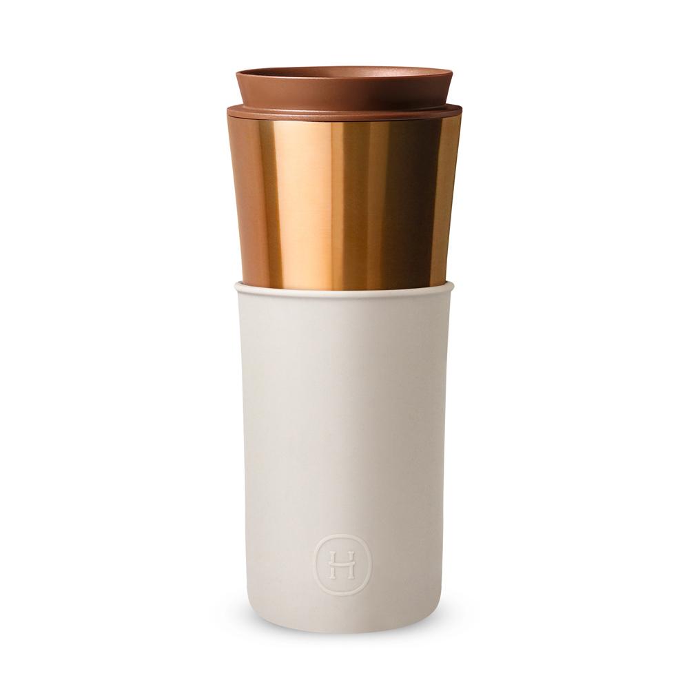 美國HYDY|Delicia 兩用隨行保溫杯 450ml 古銅金兩用杯-尤加利