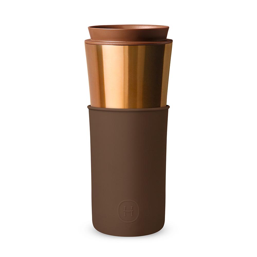 美國HYDY|Delicia 兩用隨行保溫杯 450ml 古銅金兩用杯-摩卡