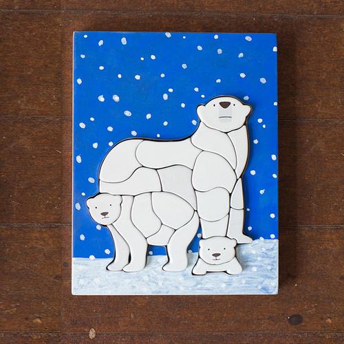 江口設計 Eguchi toys|木製兒童動物拼圖-北極熊
