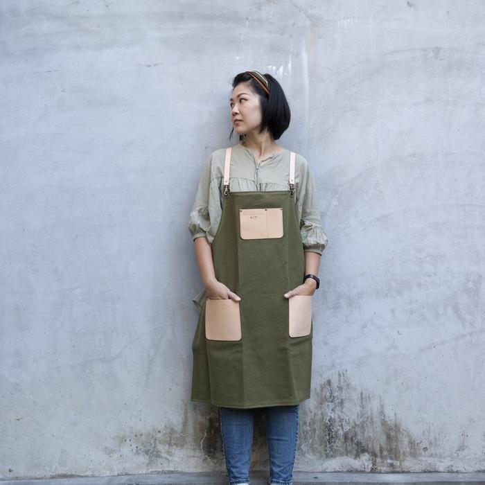 Be Two ∣ 軍綠色工作帆布圍裙