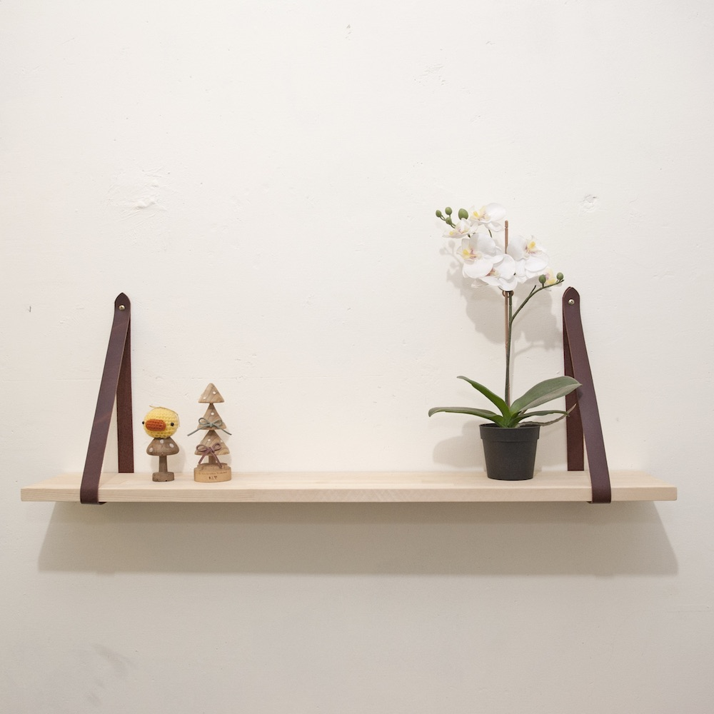 Be Two ∣ 80cm 松木實木隔板-掛牆式層架-皮革收納板-置物層板