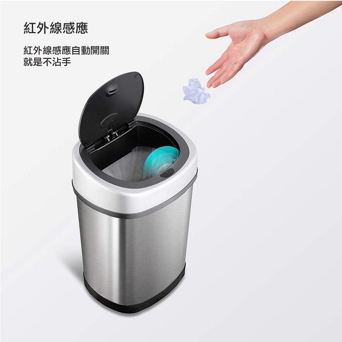 美國NINESTARS|時尚不銹鋼感應垃圾桶12L(廚衛系列)