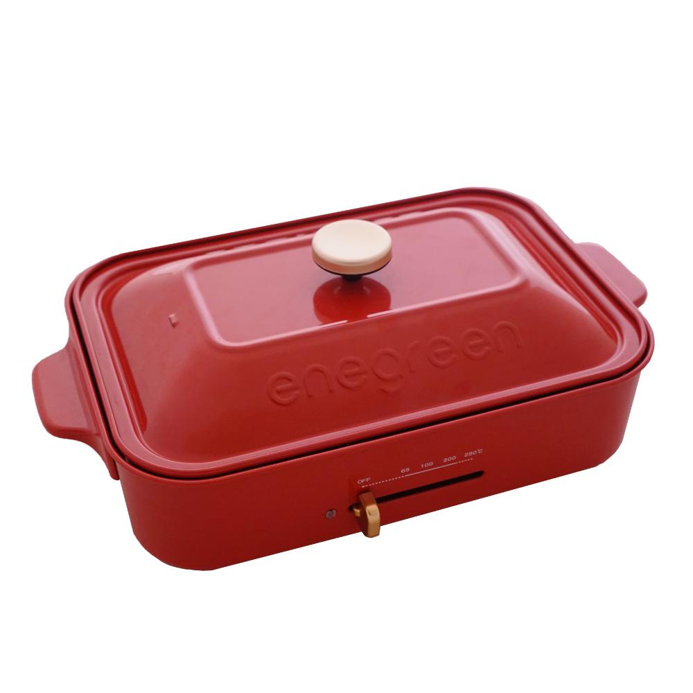 綠恩家enegreen|日式多功能烹調電烤盤(經典紅)KHP-770TR