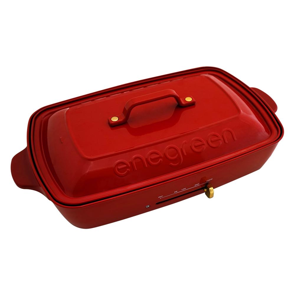 綠恩家enegreen|日式多功能烹調大器電烤盤 (經典紅)KHP-777TR