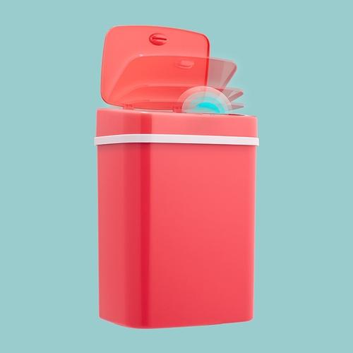美國NINESTARS|時尚感應垃圾桶12L 玫瑰紅(廚衛系列)