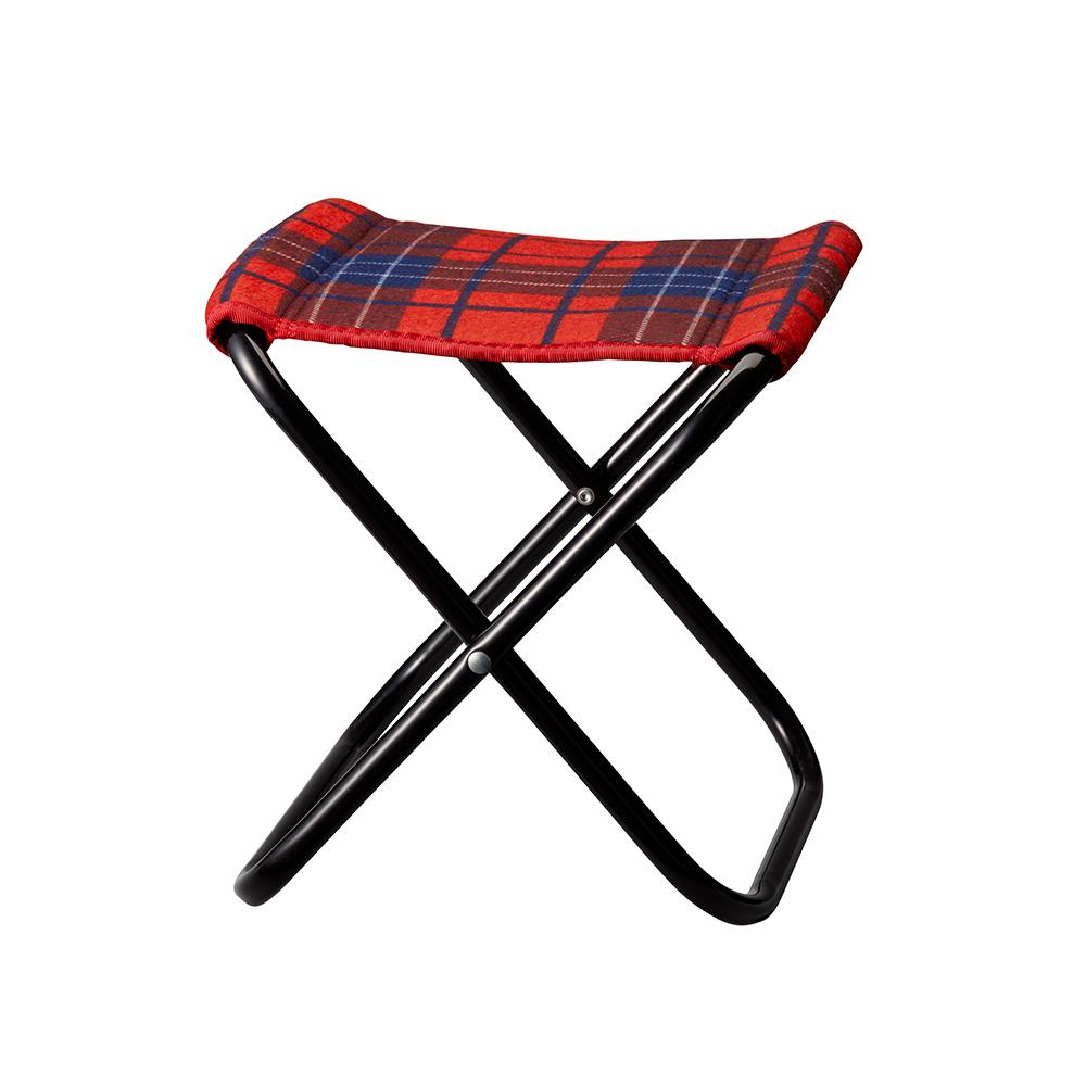 BRUNO|格紋摺凳-附收納袋(紅)