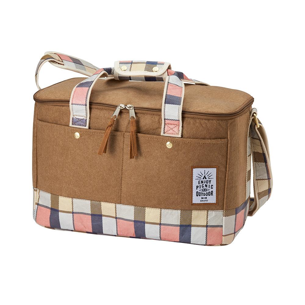 BRUNO 格紋野餐袋(粉)