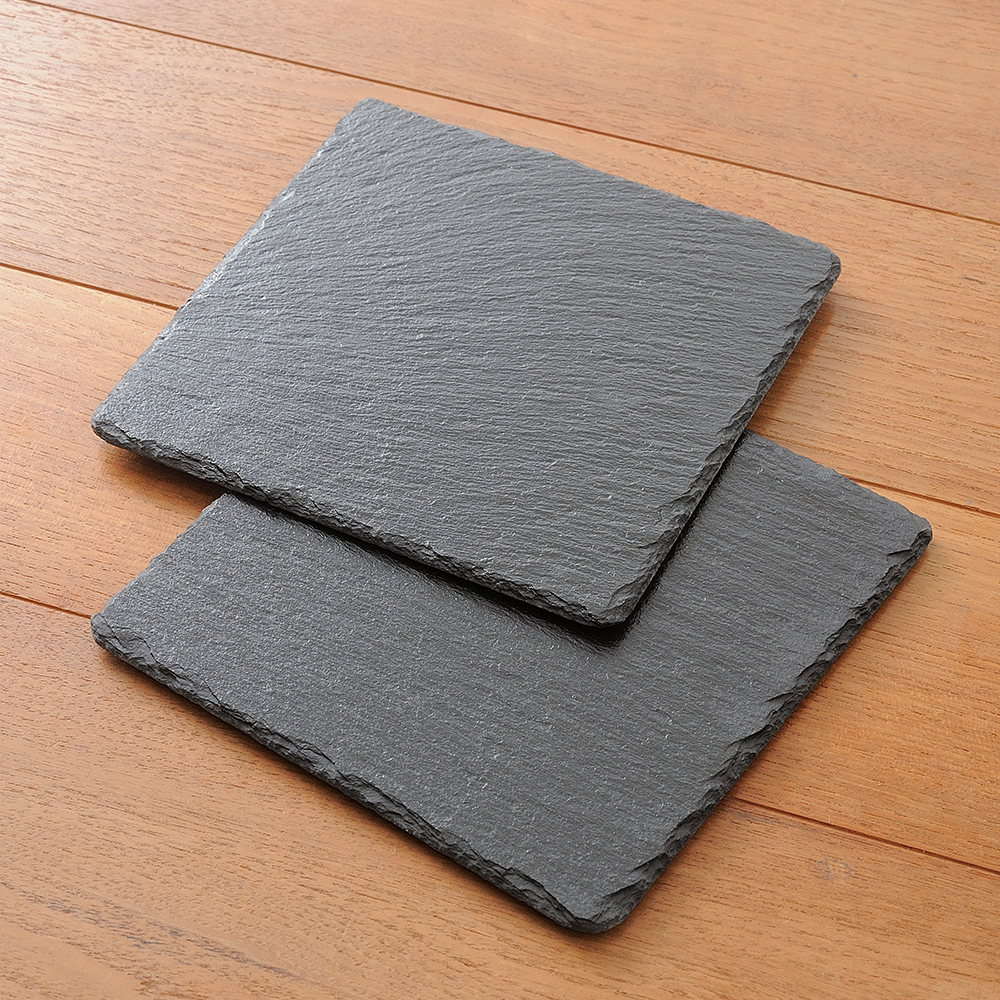 BRUNO|天然黑石盤-正方型M(2入組)