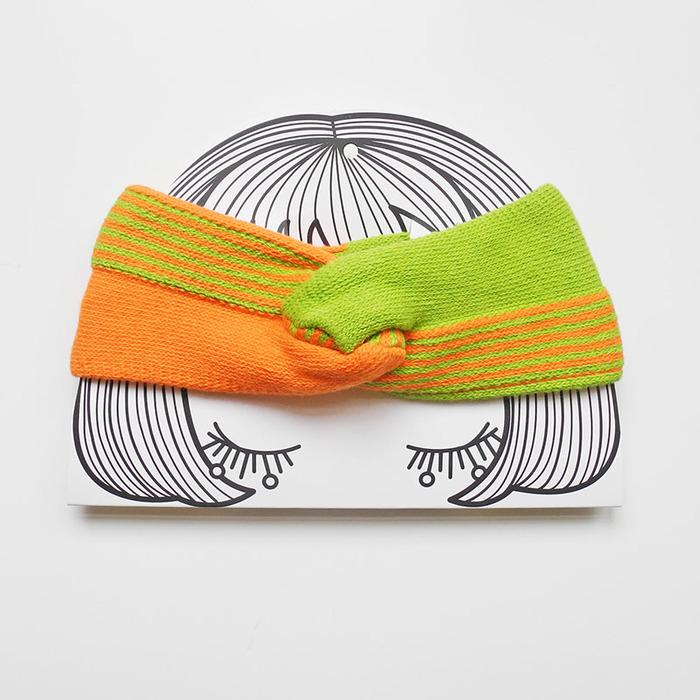 studio chiia好耘設計|法式手工髮帶|橘+草綠