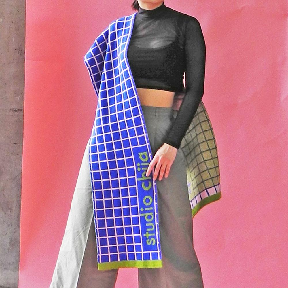 studio chiia好耘設計|針織雙面圍巾(深藍方格)