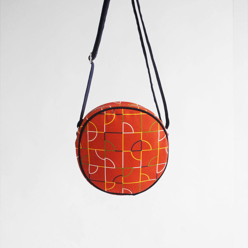 studio chiia好耘設計|印花小圓包- 磁磚線 |磚紅