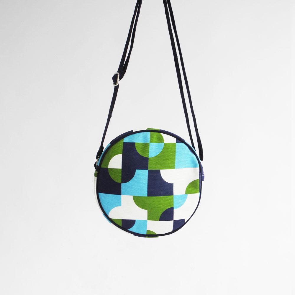 studio chiia好耘設計|印花小圓包-磁磚|藍
