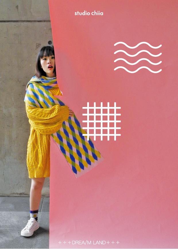studio chiia好耘設計 針織雙面圍巾(粉邊菱格紋)