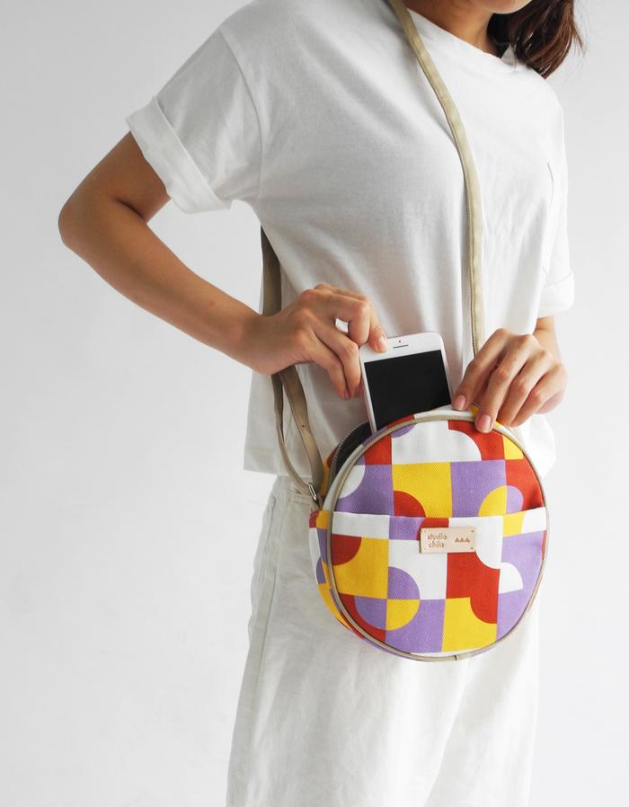 (複製)studio chiia好耘設計|印花小圓包-磁磚|藍