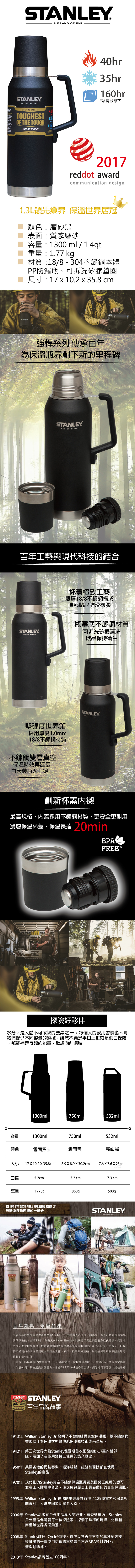 Stanley|強悍系列保溫瓶1.3L-磨砂黑