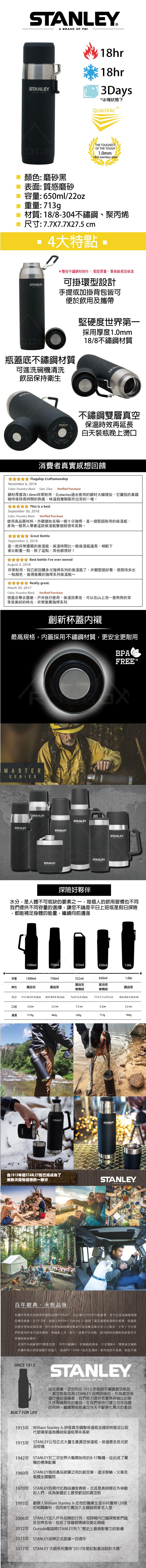 Stanley|強悍系列保溫瓶 0.65L-磨砂黑