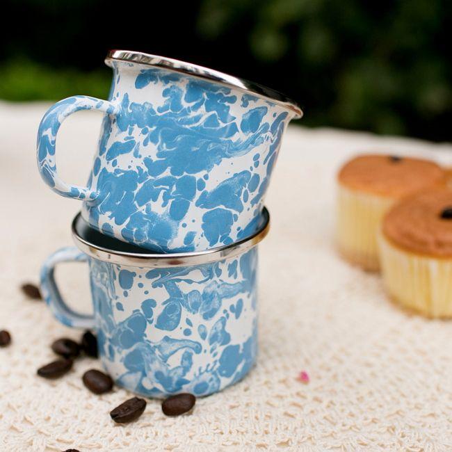 峇里島 Wind & Whisper|南洋潑墨風咖啡雙杯組(藍天)
