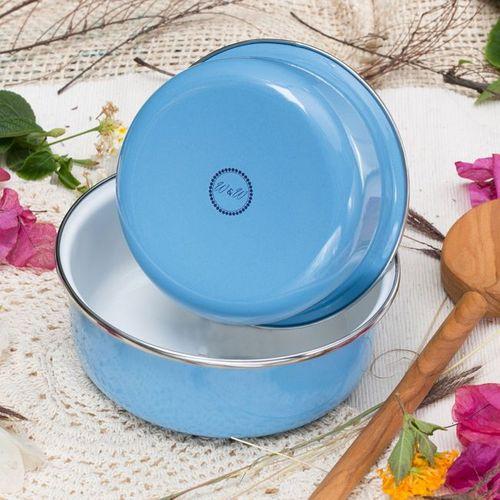 峇里島 Wind & Whisper|南洋琺瑯烤盤/烤碗2件組-藍天