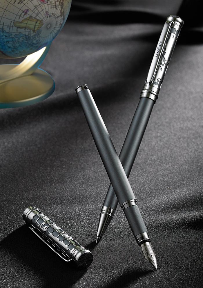 (複製)rarefatto|巴洛克銀藍色鋼筆F尖 (免費刻字)+送墨水管一盒(4管)