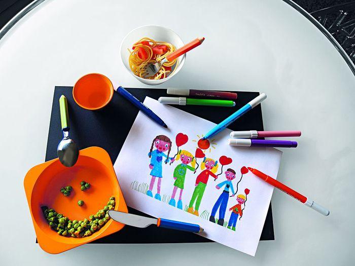E-my|小孩無毒路錐造型碗盤組+蠟筆造型刀叉