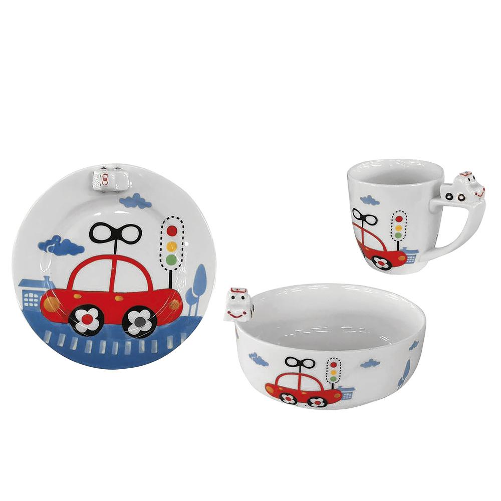 E-my|寶寶車車圖案陶瓷杯碗盤組
