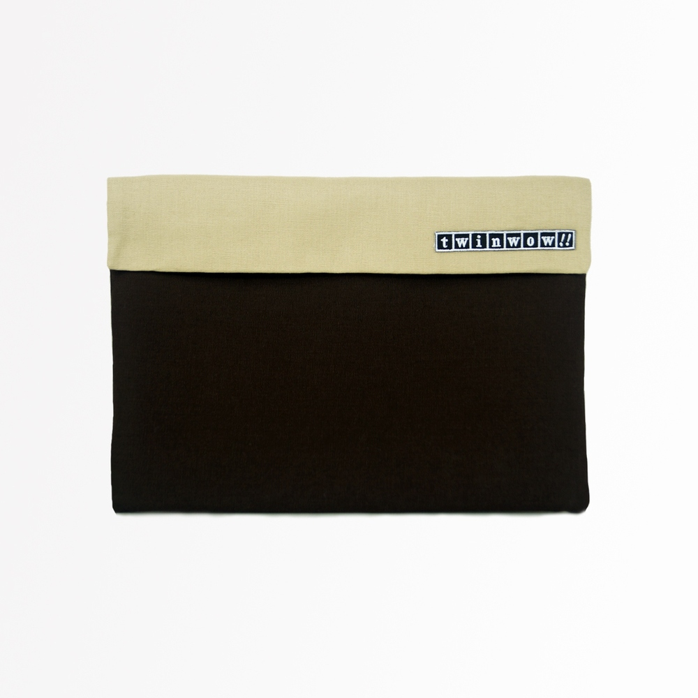 twinwow|時尚筆記 - 細緻質感平板包(咖啡卡其)