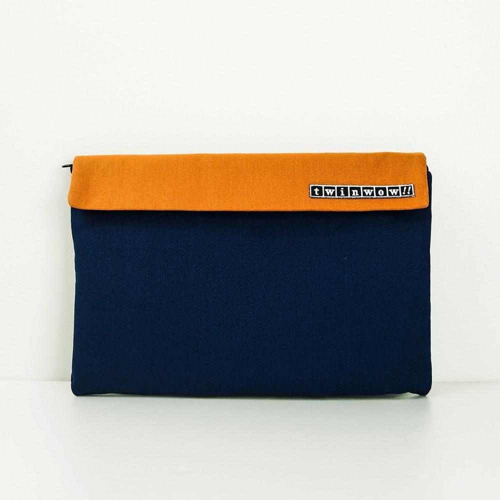 twinwow|時尚筆記 - 細緻質感平板包(牛仔藍橘)