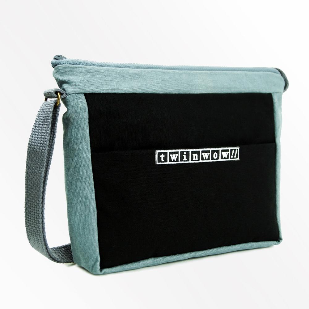 twinwow|簡約輕巧 - 細緻質感斜背包(時尚黑灰)