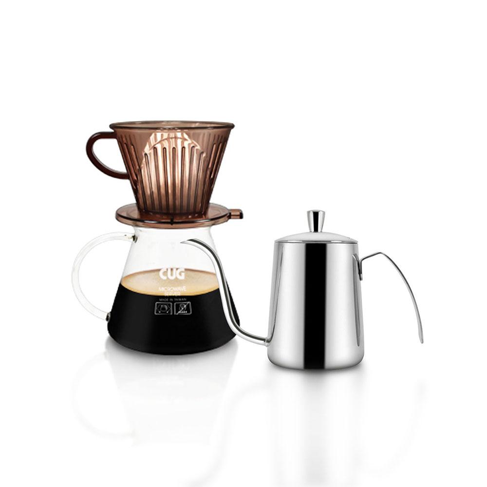 CUG|IOI超值手沖系列組合(咖啡濾杯組2-4CUP褐色+550ML手沖壺)