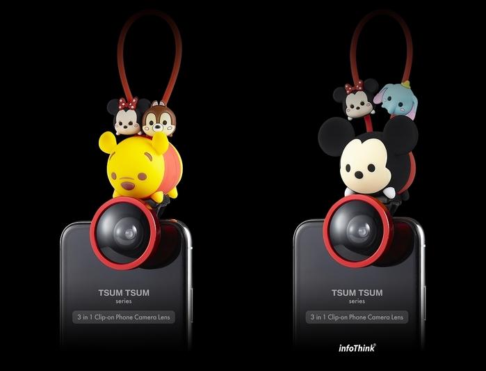 (複製)InfoThink|TSUM TSUM 超廣角/魚眼/微距三合一手機鏡頭夾-小熊維尼