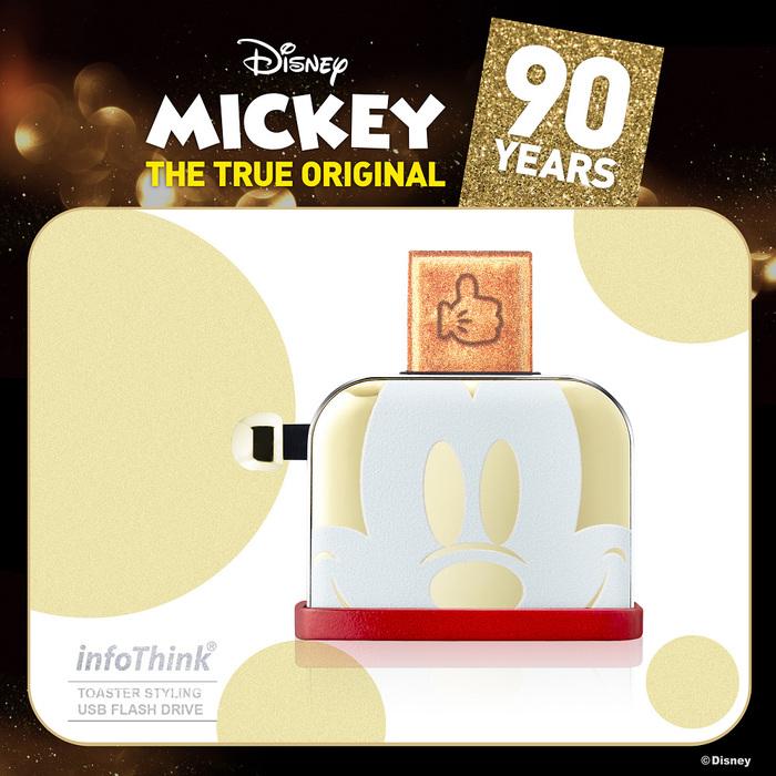 InfoThink|米奇系列烤吐司機造型隨身碟(90周年紀念聖誕金款)-16GB